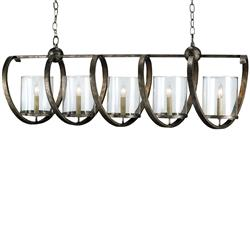 Spiro Spiral Bronze Iron 5 Light Modern Island Chandelier