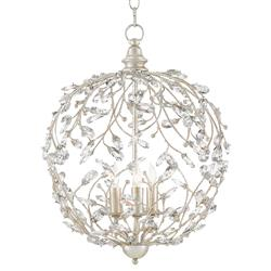 Carter French Country Silver Crystal Vine Globe Chandelier