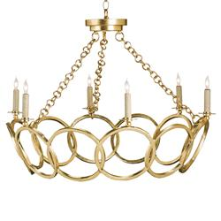 Metallic Gold Leaf Hollywood Regency Circular 6 Light Chandelier