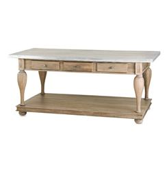 French Country Balustrade Antique Walnut Kitchen Island Console Table- L