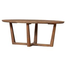 Lloyd Flanders Teak Modern Classic Oval Sled Base Outdoor Coffee Table