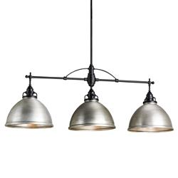 Cala Industrial Loft Triple Dome Brushed Nickel Pendant