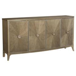 Caracole Credenza Hollywood Regency Brown Wood Starburst Buffet Sideboard