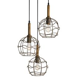 Emery Industrial loft Round Wire Frame Trio Pendant Light