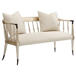 Caracole Twice As Beautiful French Country Ivory Upholstered Champagne Gold Spindle Back Settee