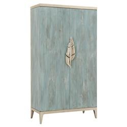 Caracole Watercolours French Country Blue Wood Silver Leaf Tall Media Cabinet Desk