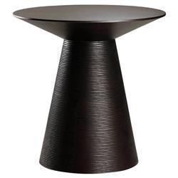 Aurea Mid Century Modern Ribbed Pedestal Round Black Oak Side End Table
