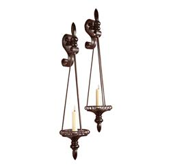 Pair Duezzane Wood  Iron Italianate Scroll Wall Sconces