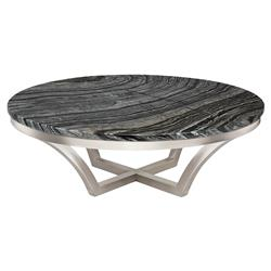 Amelia Hollywood Regency Round Black Vein Marble Top Silver Base Round Coffee Table