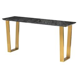 Cathy Hollywood Regency Brushed Gold Steel Black Marble Console Table