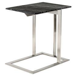 Douglas Modern Classic Silver Steel Black Marble Side End Table