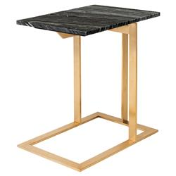 Douglas Modern Classic Gold Steel Black Marble Side End Table