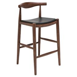 Katelyn Mid Century Modern Black Leather Seat Brown Scandinavian Counter Stool