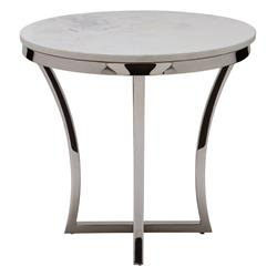 Amelia Hollywood Regency Round White Marble Top Silver Base Side End Table