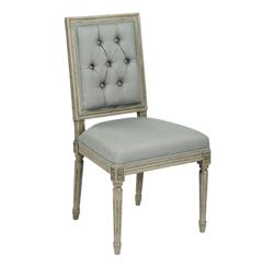 Pair French Country Louis XVI Sage Green Tufted Linen Dining Chair
