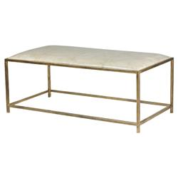 Mercedes Modern Classic Beige Leather Upholstered Brass Frame Bench