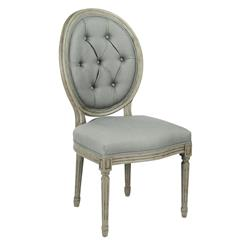Pair Madeleine Oval Tufted Sage Green Linen Dining Chair
