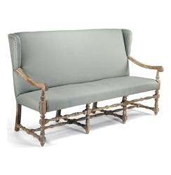 Augusto French Country Sage Linen Oak Dining Bench Sofa