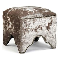 Modern Mink Velvet Nail Head Trim Ottoman Foot Stool