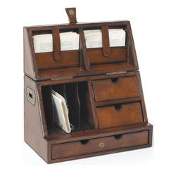 Rustic Leather Brass Secretary Desktop Organizer