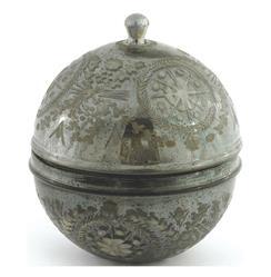 Cathleen Vintage Hollywood Smokey Etched Mercury Glass Round Box