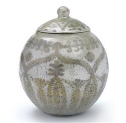 Vintage Global Bazaar Velas Etched Opal Round Jar Vase