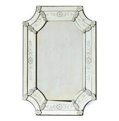 Hollywood Regency Antiqued Polished Ornate Venetian Mirror