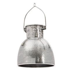 Rustic Lodge Hammered Antiqued Silver Pocked Pendant Light