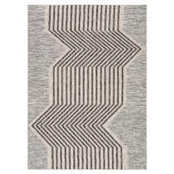 "Mari Modern Classic Grey Beige Linear Pattern Outdoor Rug - 2' x 3'7"""