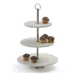Hollywood Regency Marble Tiered Fruit Display Tray