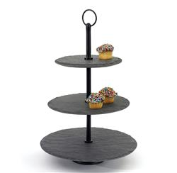 Rustic Lodge Round Slate Tiered Fruit Display Serving Tray