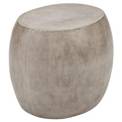 Roma Rustic Lodge Oval Grey Concrete Outdoor Side End Table