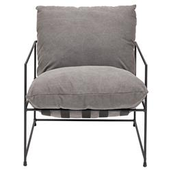 Tommy Modern Classic Black Steel Frame Grey Cushion Seat Living Room Chair