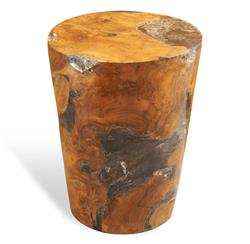 Trinity Modern Rustic Chunky Teak Wood Column Side Table