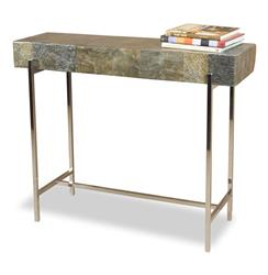 Alec Modern Rustic Chunky Stone Steel Console Table