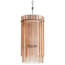Rose Blush Contemporary Glass Rod 4 Light Chandelier | CYAN-05719