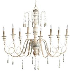 Chantilly French Country Parisian Blue White 8 Light Chandelier | CYAN-05714