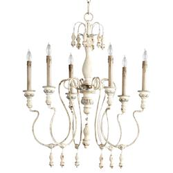 Chantilly French Country Parisian Blue White 6 Light Chandelier