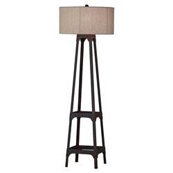 Aiken Rustic Lodge Beige Drum Shade Distressed Floor Lamp