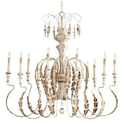 Marion French Country White Washed 10 Light Chandelier
