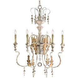 Marion French Country White Washed 6 Light Chandelier
