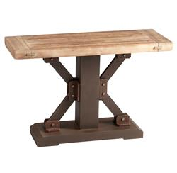 Kent Industrial Loft Raw Iron Masculine Natural Wood Console