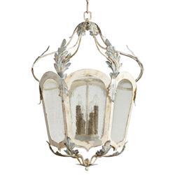Chantilly French Country Parisian Blue White 6 Light Lantern Pendant