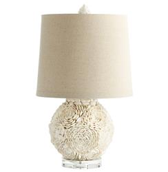 Hallandale Coastal Beach Mum White Seashell Petal Large Table Lamp | CYAN-05300