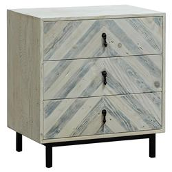 Seaton Modern Black Chevron Patterned White Washed Reclaimed Wood Nightstand