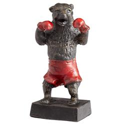 Freestyle Bear Boxing Red Shorts Gloves Sculpture