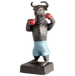 Freestyle Boxing Bull Blue Shorts Red Gloves Sculpture