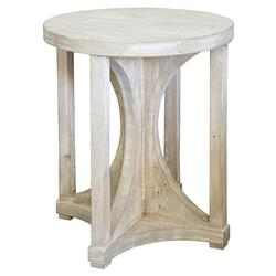 Serge Coastal Beach Grey Washed Reclaimed Wood Hourglass Round Side End Table