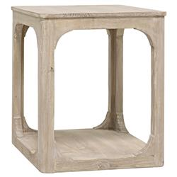 Talbot Rustic Lodge Grey Wash Reclaimed Wood Square Side End Table