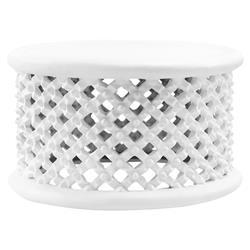Bungalow 5 Kano Modern Classic White Woven Base Round Round Coffee Table